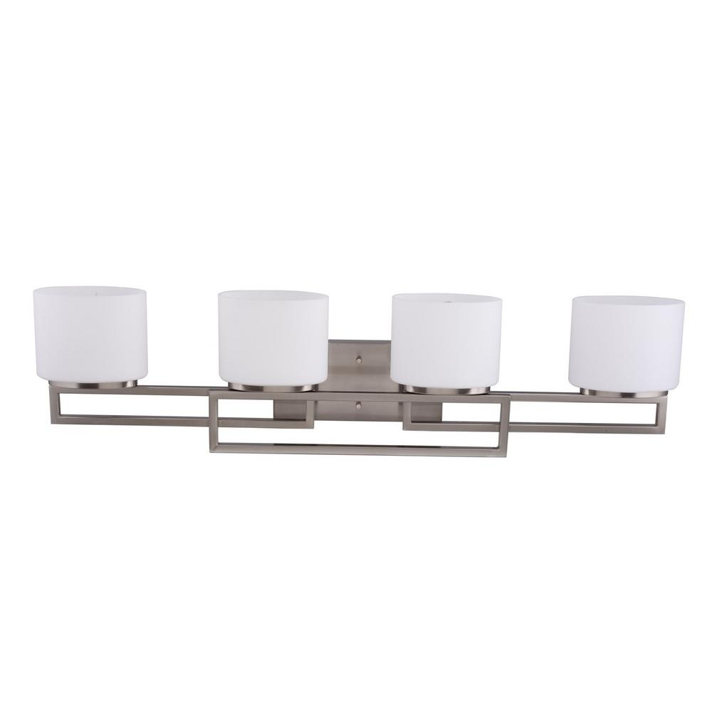 4-Light Brushed Nickel Vanity Bath Light with Opal Glass Shades