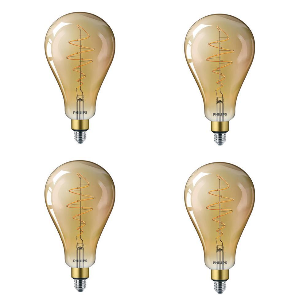 40-Watt Equivalent A50 Dimmable Vintage Glass Edison LED Large Light Bulb Amber Warm White (2000K) (4-Pack)