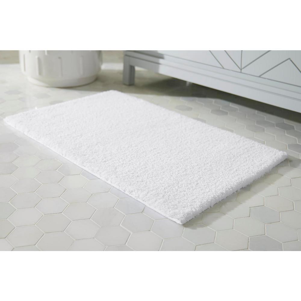 White 21 in. x 34 in. Microplush Non-Skid Bath Rug