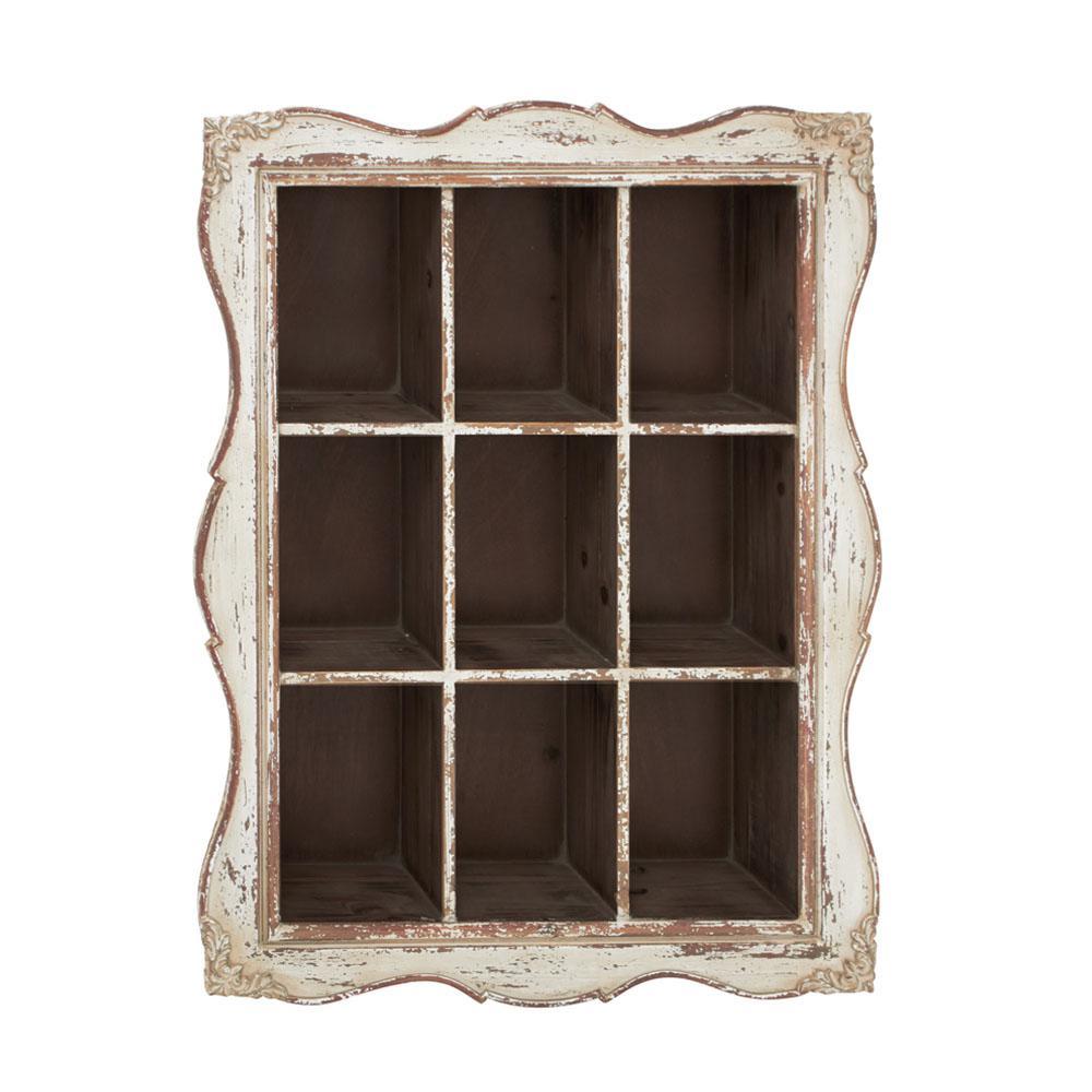 34 in. x 25 in. Rustic Wooden Cubbyhole Framed Wall Shelf
