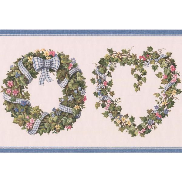 Retro Art Pink Yellow Blue Flowers in Green Wreath Floral Prepasted
