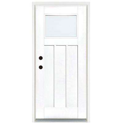 36 in. x 80 in. Smooth White Right-Hand Inswing LowE Classic Craftsman Finished Fiberglass Prehung Front Door