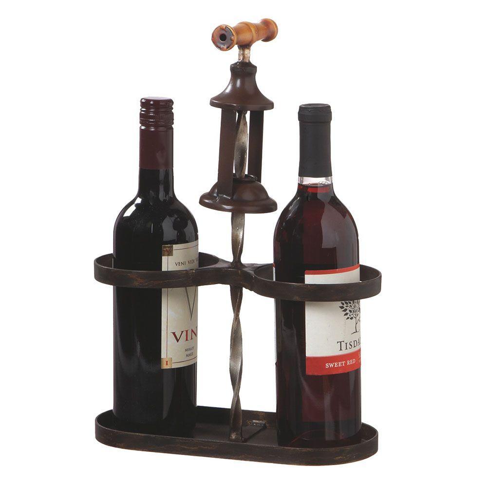 Filament Design Sundry 18 in. Metal Corkscrew Double Wine Bottle Holder in Black