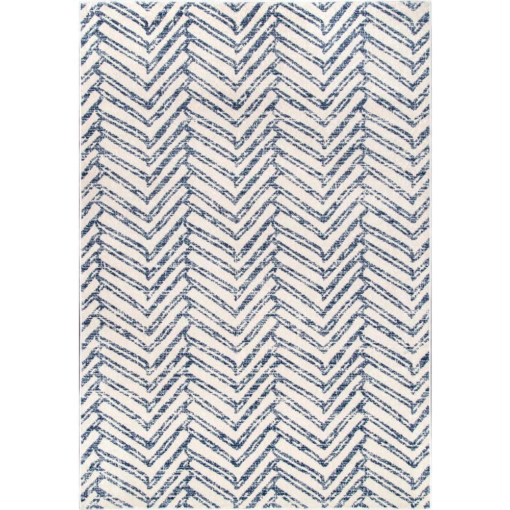 Rosanne Geometric Herringbone Blue 7 ft. x 9 ft. Area Rug