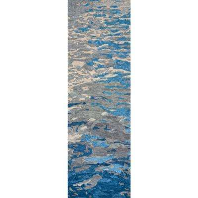 Vogue Blue 2 ft. 6 in. x 8 ft. Abstract Runner Rug