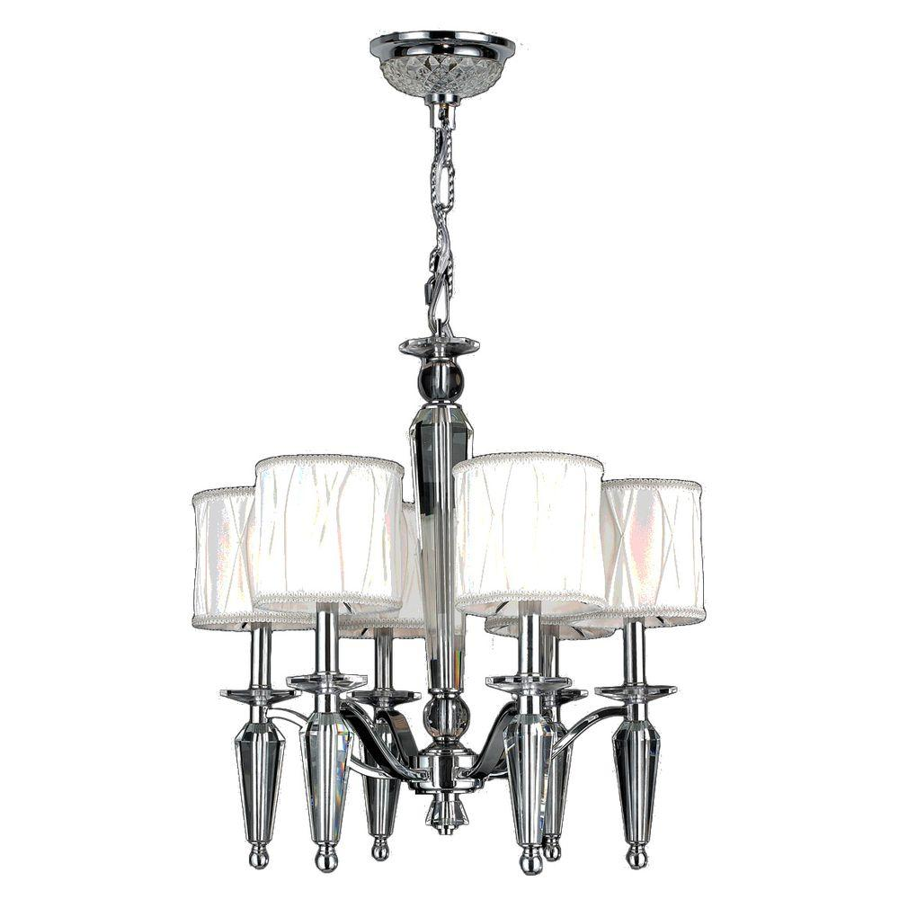 Gatsby 6-Light Polished Chrome and Clear Crystal Chandelier with Fabric Shade