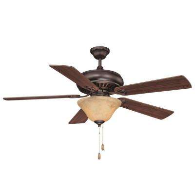 52 in. English Bronze Ceiling Fan with Cream Marble Glass