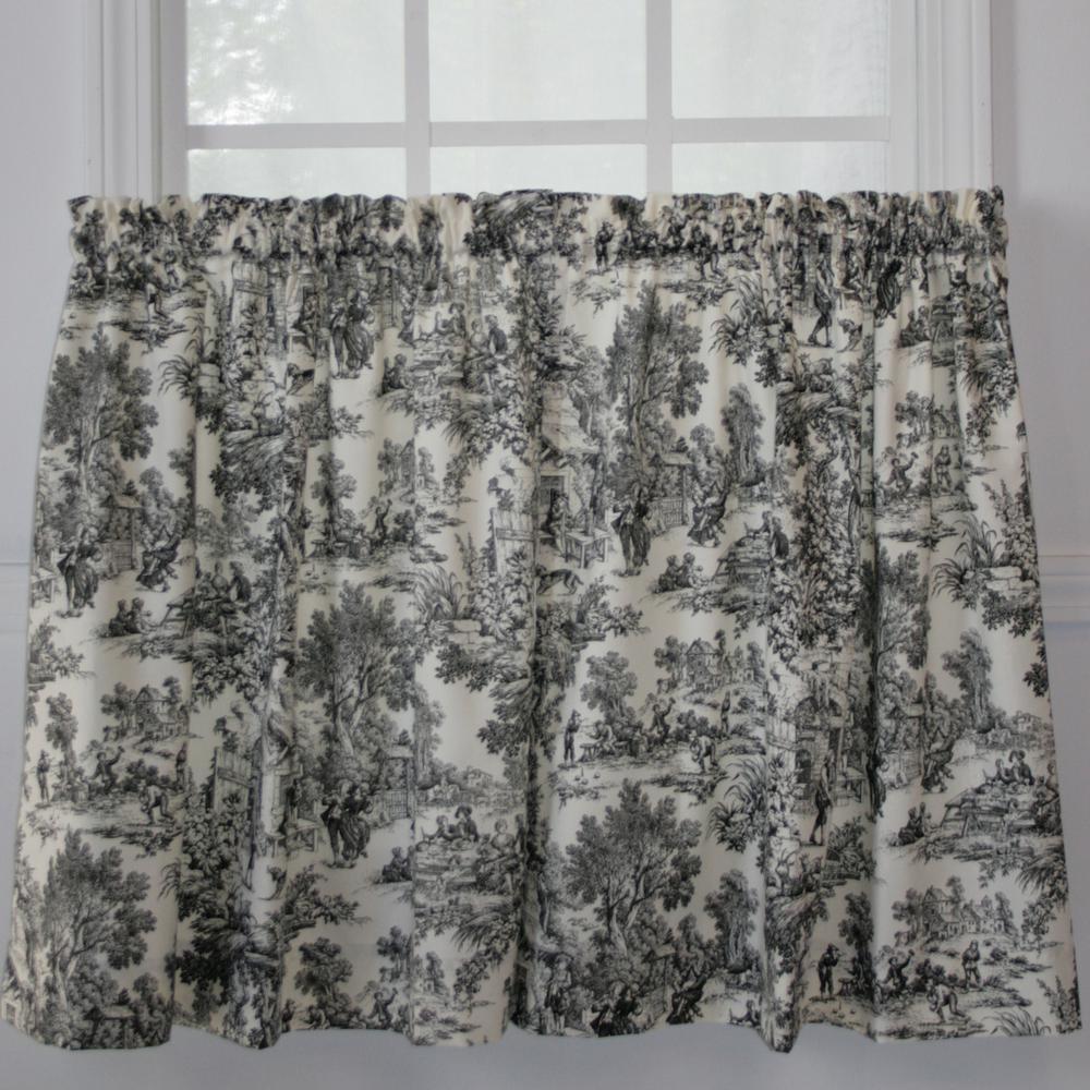 Ellis Curtain Victoria Park Toile 68 in. W x 36 in. L Black CottonTailored Tier Pair Curtain