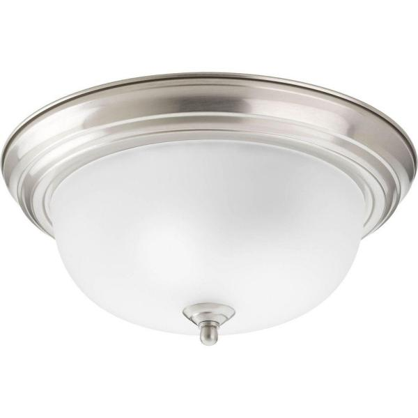 2-Light Brushed Nickel Flush Mount with Etched Glass