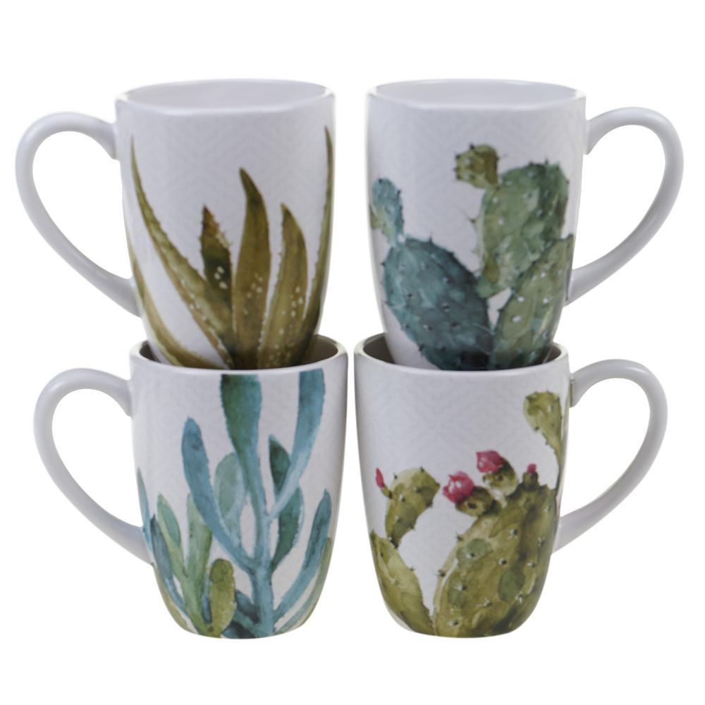 Cactus Verde 22 oz. Green Graphic Mug (Set of 4)