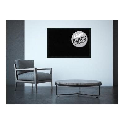 Mezzanotte Black Wood 38 in. x 26 in. Framed Black Cork Board
