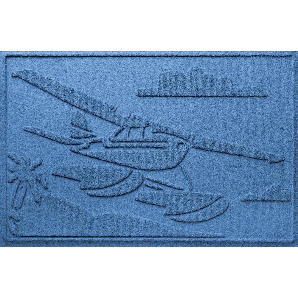 Medium Blue 24 in. x 36in Sea Plane Polypropylene Door Mat