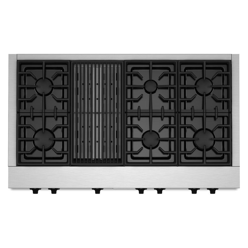 KitchenAid 48 in. Gas Cooktop in Stainless Steel with Grill and 6 Burners including Two