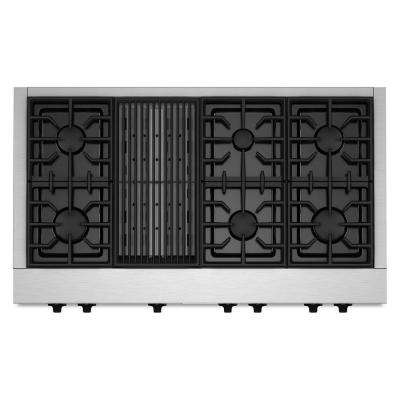 48 in. Gas Cooktop in Stainless Steel with Grill and 6 Burners including Two 20000-BTU Ultra Power Dual-Flame Burners