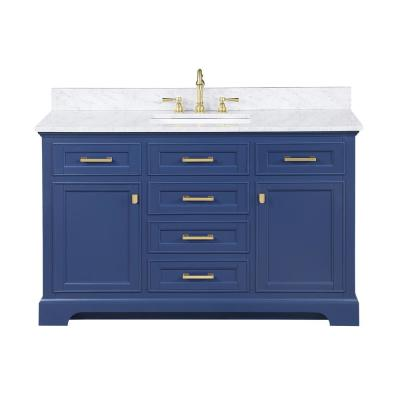 Milano 54 in. W x 22 in. D Bath Vanity in Blue with Carrara Marble Vanity Top in White with White Basin