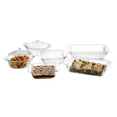 Baker's Premium 6-Piece Clear Glass Serving Dish Set with 2 Covers