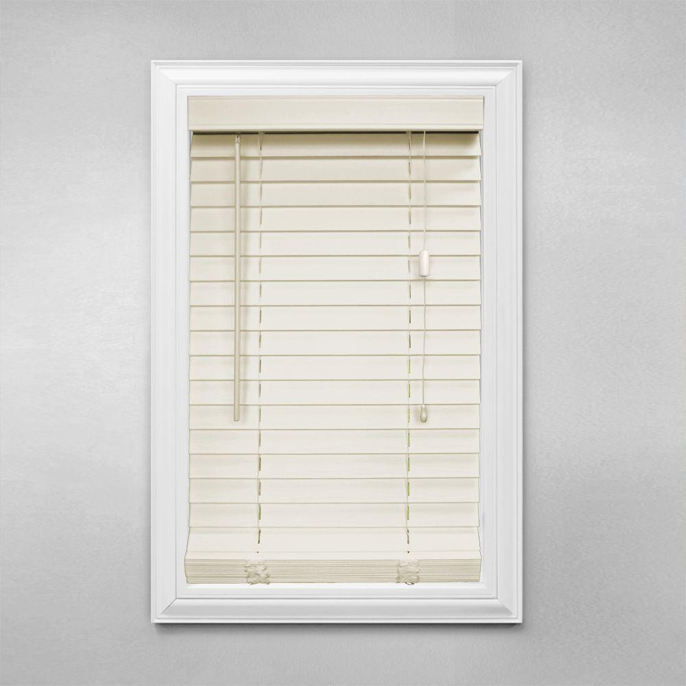 Home Decorators Collection Cut-to-Width Alabaster 2 in. Faux Wood Blind - 62 in. W x 64 in. L (Actual Size 61.5 in. W 64 in. L )