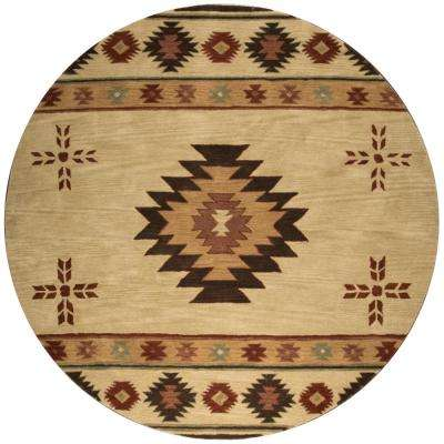 Ryder Tan/Burgundy 10 ft. x 10 ft. Round Native American/Tribal Area Rug
