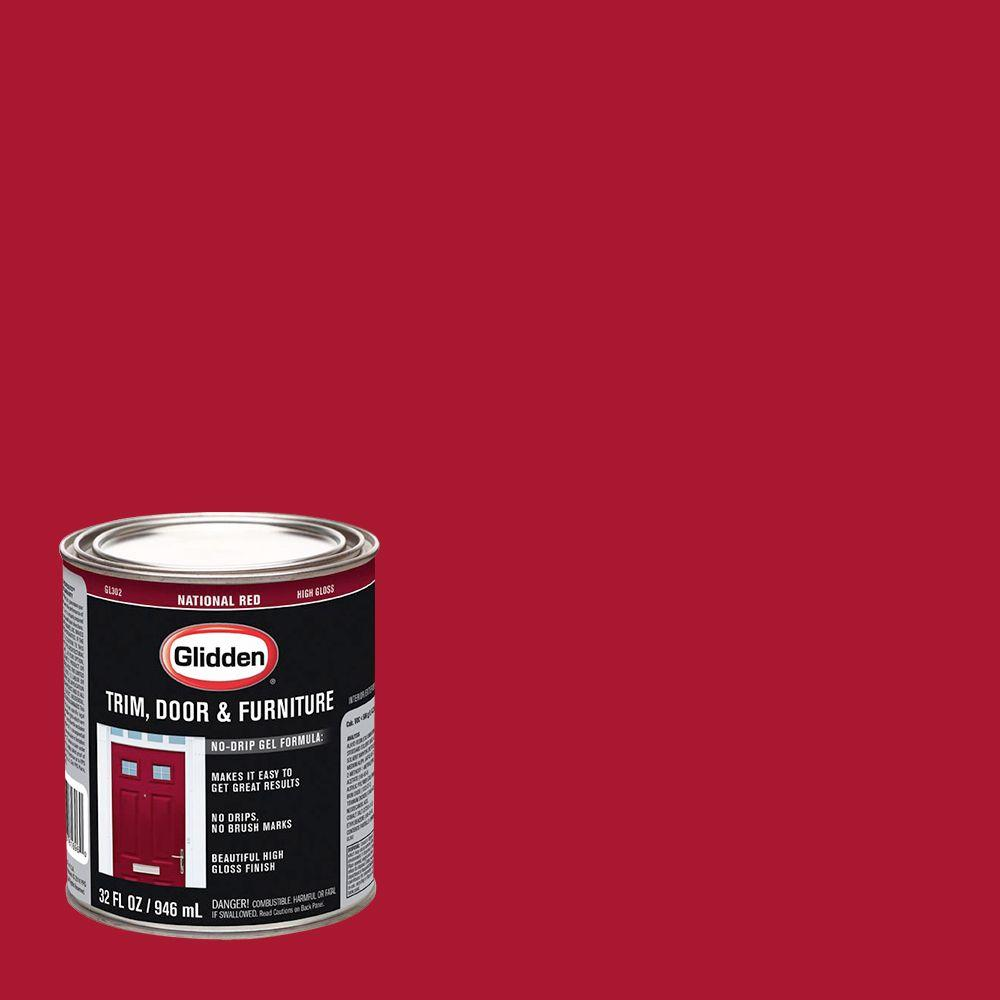 Superbe Glidden Trim And Door 1 Qt. National Red Gloss Interior/Exterior Oil Paint