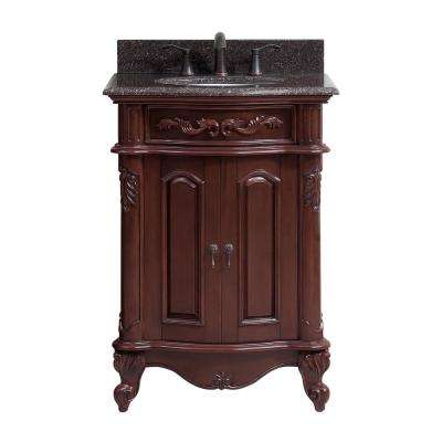 Provence 25 in. Vanity with Granite Vanity Top and Under-Mount Sink in Imperial Brown