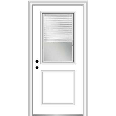 32 in. x 80 in. Internal Blinds Right-Hand Inswing 1/2 Lite 1-Panel Clear Primed Fiberglass Smooth Prehung Front Door