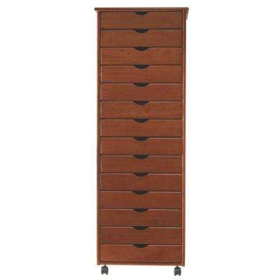 Stanton Wide 14-Drawer Storage Cart in Walnut