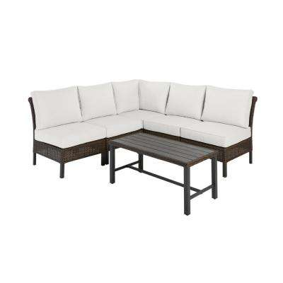 Harper Creek Brown 6-Piece Steel Outdoor Patio Sectional Sofa Seating Set with CushionGuard Chalk White Cushions