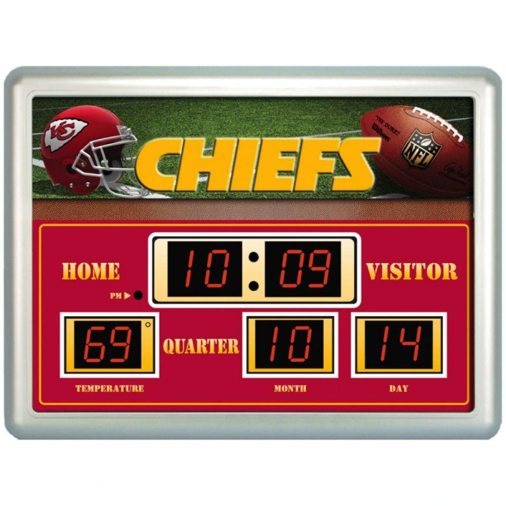 null Kansas City Chiefs 14 in. x 19 in. Scoreboard Clock with Temperature