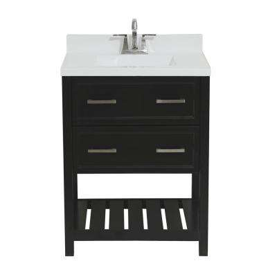 Milan 25 in. Bath Vanity in Espresso with Cultured Marble Vanity Top with Backsplash in White with White Basin