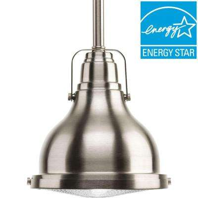 Fresnel Lens Collection 1 Light Brushed Nickel Integrated LED Mini Pendant  ...