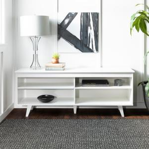 58 in. Wood Simple Contemporary Console - White