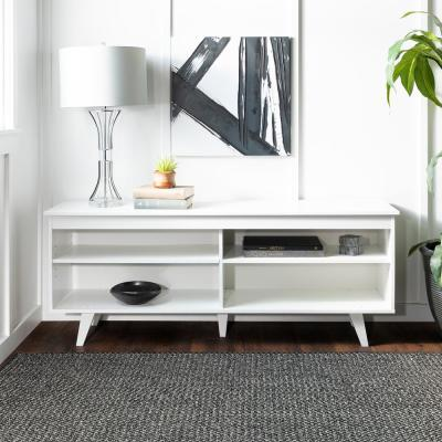 Simple Contemporary 58 in. White Composite TV Stand 60 in. with Adjustable Shelves