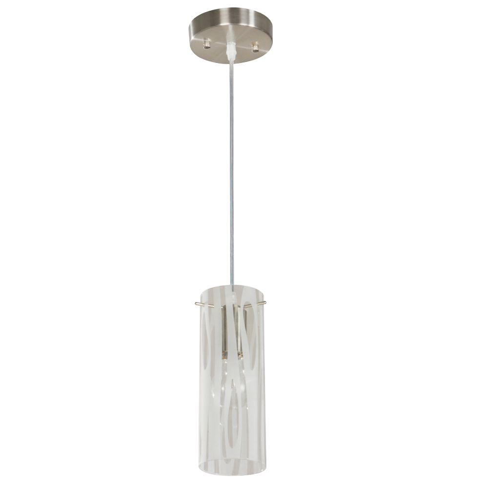 Hampton Bay 1-Light Satin Nickel Mini Pendant with Grain Pattern Etched White Glass
