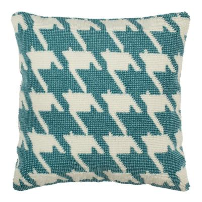 Celadon/Ivory Hanne Houndstooth Square Outdoor Throw Pillow