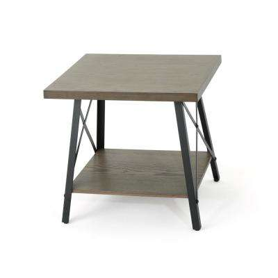 Camaran Industrial Gray-Toned Faux Wood End Table with Black Iron Legs
