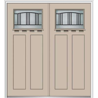 64 in. x 80 in. Madison Left-Hand Inswing 1/4-Lite Decorative Painted Fiberglass Smooth Prehung Front Door with Shelf