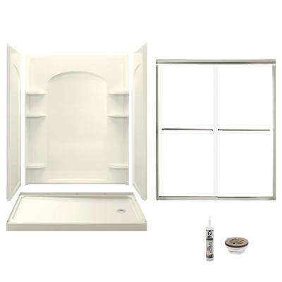 Ensemble 32 in. x 60 in. x 74.75 in. Right-Hand Drain and Backers Alcove Shower Kit in Biscuit and Brushed Nickel