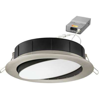 6 in. Selectable Color Temperature New Construction or Remodel Recessed Integrated LED Gimbal Kit, Brushed Nickel