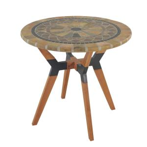 Round 30 in. Sandstone Eucalyptus and Metal Outdoor Bistro Table