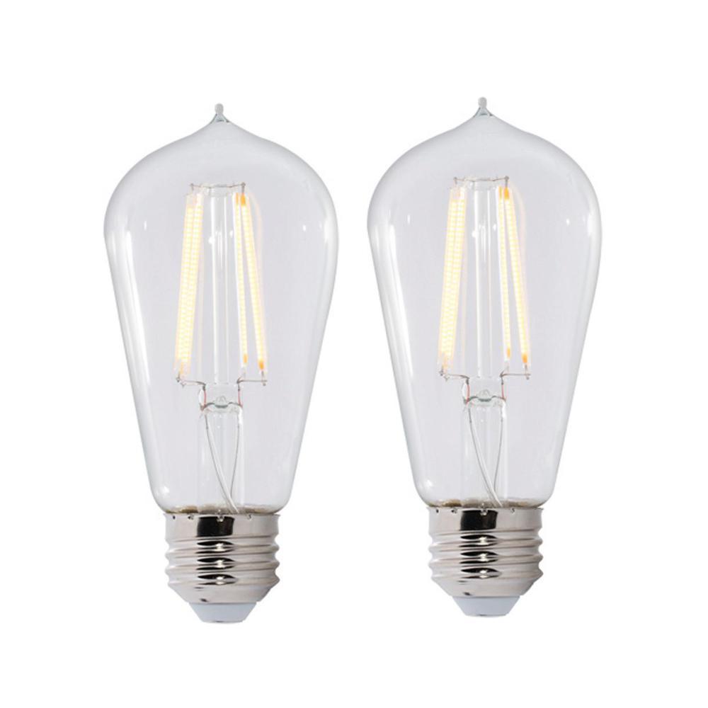 Bulbrite 60W Equivalent Warm White Light ST18 Dimmable LED Filament Light Bulb (2-Pack)