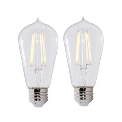 60W Equivalent Warm White Light ST18 Dimmable LED Filament Light Bulb (2-Pack)