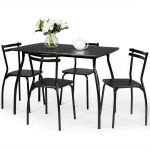 Costway 5 Pcs Dining Set Table and 4-Chairs Home Kitchen ...