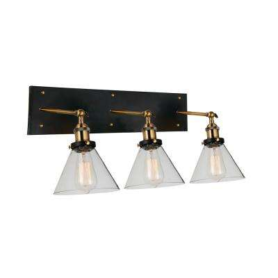 Eustis 3-Light Black and Gold Brass Sconce