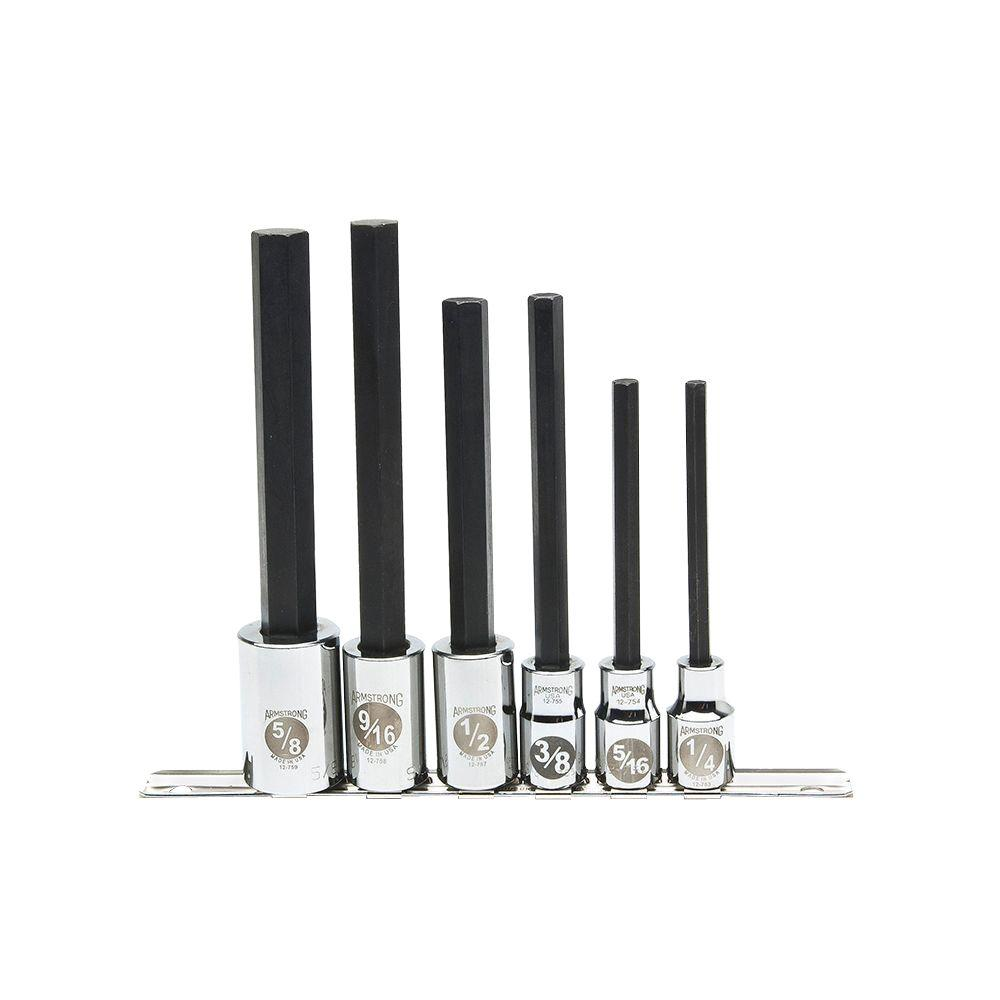 Armstrong 1/2 in. Drive SAE Extra Long Hex Bit Socket Set (6-Piece)