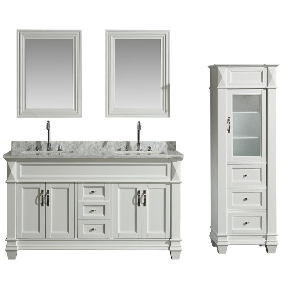 Design Element 61 In W X 22 In D Bath Vanity In White With Marble