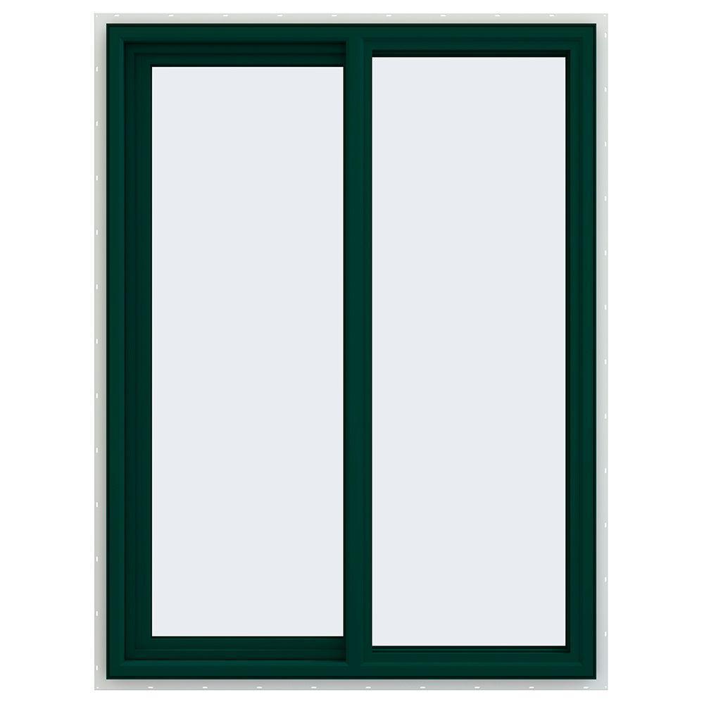 35.5 in. x 47.5 in. V-4500 Series Left-Hand Sliding Vinyl Windows - Green