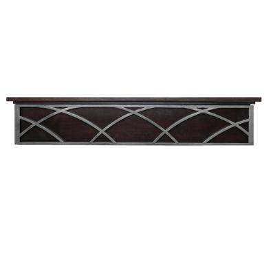 Hansel 5 ft. Maple Silver Rubbed Metal and Flip Down Front Panel Cap-Shelf Mantel