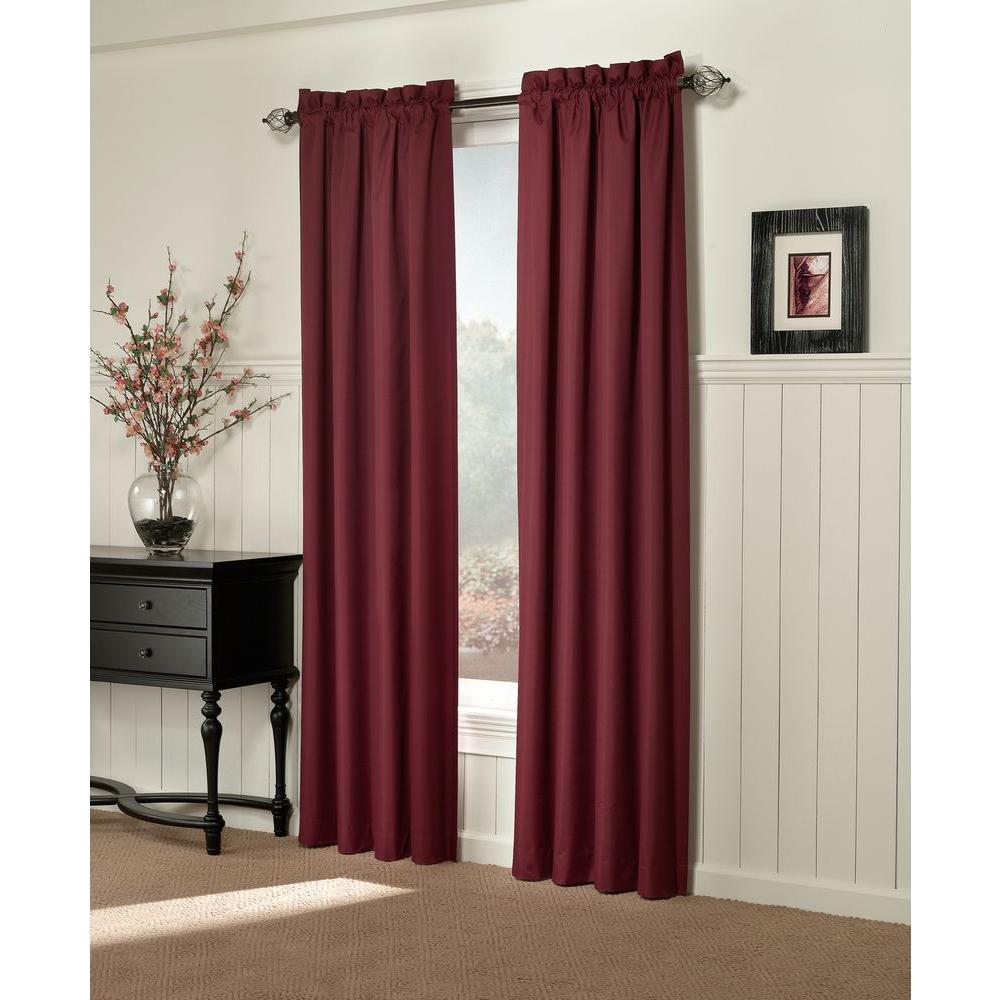 Sun Zero Semi-Opaque Brighton Burgundy Thermal Lined Curtain Panel (Price Varies by Size)