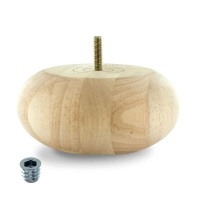 2-1/2 in. x 5-1/2 in. Unfinished Solid Hardwood Round Bun Foot
