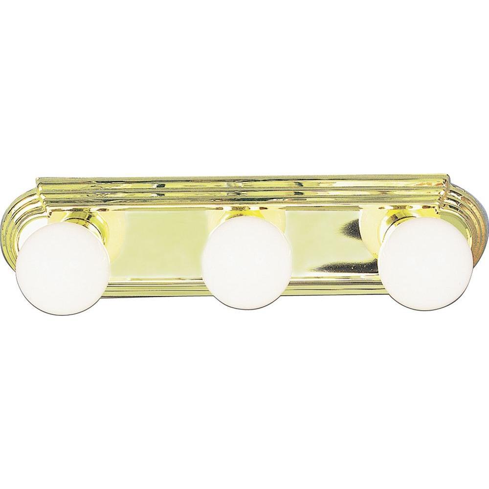 3-Light Polished Brass Bath and Vanity Light